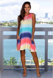 Rayados del arco iris del vestido del verano de las mujeres sin mangas de cuello redondo suelta vestidos Famale ropa linda