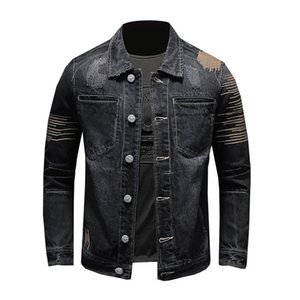 Giacca nera Denim Motociclista BONJEAN Uomo Vintage slim fit ricamo Distressed Jeans cappotto degli uomini punk Giacche