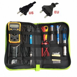 Yellow Multimeter With Electric Soldering Iron Set Kit Digital Display Multimeter Combination Tool Set 60W Adjustable Temperatur P0ww#