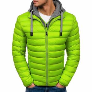 Shujin 2020 Uomo Casual Jacket Parka con cappuccio inverno degli uomini rappezzatura di modo di cotone imbottito cappotti slim spessore caldo leggero Outwear