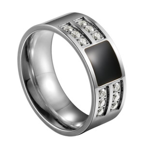BONISKISS Men's Stainless Steel Enamel Ring Band Silver Color Tone Black Wedding Man Anniversary Jewelry Size 7-13 Wholesale