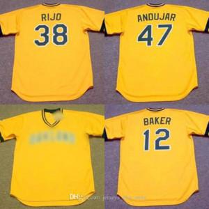 Uomini 12 DUSTY BAKER 38 JOSE RIJO 47 Joaquín Andújar Oakland 1986 di baseball Jersey 02