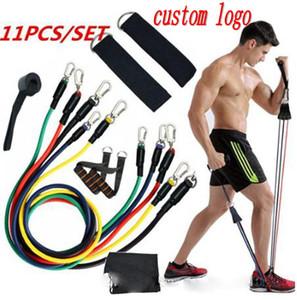 Custom logo 11pcs set Exercises Resistance Bands Latex Tubes Pedal Body Home Gym Fitness Training Workout Yoga Elastic Pull Rope Equipment