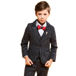 New Kids Wedding Suits Fashion Boys Blazer Vest Trouser 3pcs Set Children Formal Tuxedos School Suit Gentleman Kids Clothing Set