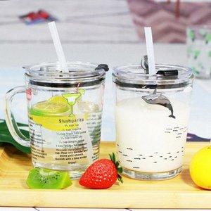 400ml di misurazione tazza di vetro Kid latte Laureato bottiglia tazze di vetro Acqua Birra tazze di caffè bambini del fumetto di tazza di latte con il coperchio GGA3236 97Qd #