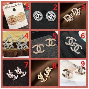 상단! 도매 가격! 14K 클래식 디자이너 진주 다이아몬드 귀걸이 스터드 골드 실버 매달리는 쥬얼리 액세서리 파티 선물 A4
