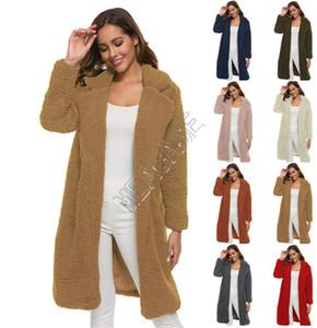 Escudo mujeres Sherpa Cardigan manga larga Berber Fleece chaquetas de moda felpa de la solapa de la chaqueta de cuello de gran tamaño capas largas Outwear otoño D82607