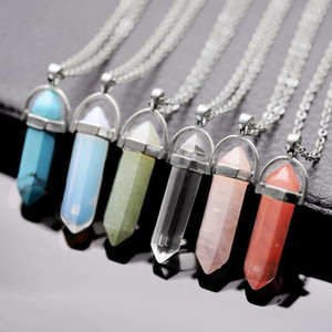 Silver Chains Necklaces Jade Amethyst Turquoise Topaz Rose Quartz Healing Crystal Natural Stone Pendant Necklaces