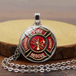 Resgate bombeiro Colar Bombeiro Pendant Fireman Jóias Corpo de Bombeiros Colar pingente de vidro cabochão prata Jewery oF1v #