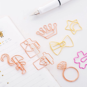 Cute metal rose gold Bookmarks Paper Clips cartoon metal clip Filing tools mini clips papelaria stationery School Office Supplies