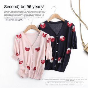 Kore tarzı kazak giyim 2020 Yaz kadın V yaka desen Strawberry Strawberry yeni hırka güneş geçirmez kadın G9491 vJchD
