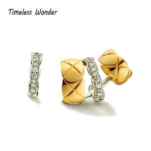 Timeless Wonder Stunning Zirconia Geo Ear Cuff Earrings Clip Women Statement Jewelry Punk Runway Gothic Designer Boho Ins 2344