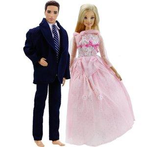 Desgaste de la ropa 2 Set = 1x 1x vestido de la manera de la princesa del vestido del partido Rosa + Hombres traje para la muñeca de Barbie amigo Ken accessoried niños