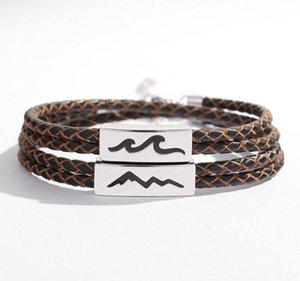 Silvology 925 Sterling Silver Leather Rope Bracelets Sea Oath Mountain Promise Couple Bracelets For Lovers Elegant Jewelry Gift00