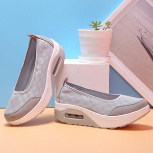 Costura de primavera y verano de malla Shake zapatos cuñas de la plataforma informal del amortiguador de aire shooes Mujeres Zapatos Casual las zapatillas de deporte respirable GvYe #