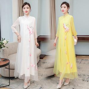 7toaN iFNZF 2020 Frauen nationale chinesisches Kleid cheongsam Kunst der ethnische Art Sommerkleidung verbesserte cheongsam Tee Kleid
