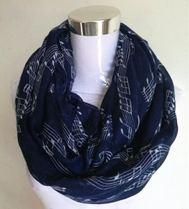 Free Shipping 2020 New Fashion White Burgundy Navy Music Note Sheet Music Piano Notes Script Print Scarves Infinity Scarf