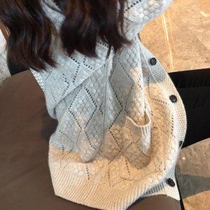 20200829 Nuovo autunno diamante scavato manicotto lungo maglia V-collo cardigan allentato e versatile mezzo maglione giacca lunghezza