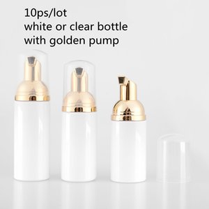 10ps 30 60ML البلاستيك مضخة رغوي زجاجة فارغة إعادة الملء زجاجة مستحضرات التجميل السائلة زجاجة الصابون رغوة مع T200819 رغوي الذهبي