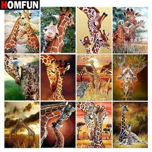 """HOMFUN diamante pittura Giraffa animale selvatico"""" Quadrato Figura / rotonda Drill della decorazione della parete intarsiato in resina ricamo artigianale punto croce"""