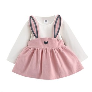 Clearance Excelent New summer Dress Mesh Girls 0-3 Years Old Autumn Baby Kids Toddler Girl Cute Rabbit Bandage Suit Mini Dress Z0205