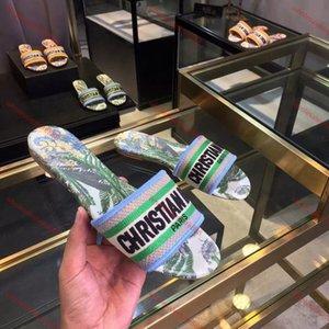 Dior slippers 2020up Высокое качество MULE DWAY EN COTON Brode SLIDE Lusso progettista женщин сандалии новый стиль верхнего качества женщин способа тапочка