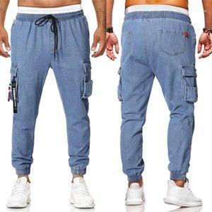 Diseño casual jeans manera ocasional Hombres Ropa para hombre con paneles de pantalones vaqueros de diseño europeo y americano para hombre flojo del lazo del bolsillo de la decoración
