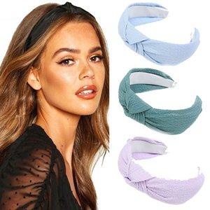 Haimeikang Nova Chegada de Mulheres Headband cor sólida com abas muito grandes Hairband Cruz Knot Acessórios de cabelo de alta qualidade Hoop cabelo