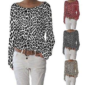 Размер женской одежды Vestidoes женщин конструктора класса люкс Tshirt осень с длинным рукавом Экипаж шеи пуловер Тис Топы Leopard Print Plus