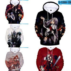 IJ9el 성인이 아동 의류 일본어 만화 블랙 아동 의류 3D 버틀러 스트리트 패션 스웨터 후드 스웨터