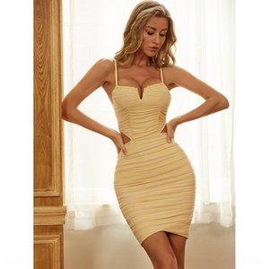 4H0UT 2020 Verano Nuevo Cuello en V Suspender Sexy apretado Hip Suspender Vendaje Vendaje Falda Vendaje Vestido Falda Mujer Vestido de noche