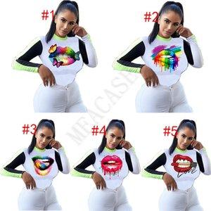 Jersey camiseta de las mujeres del tamaño extra grande de ropa de moda de manga larga T Labios camisa Mariposa del remiendo del color del otoño de los deportes de invierno Tops D8604