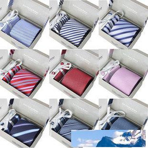 HOTSALE wedding men's neck tie set with tie clip & cufflinks & kerchief 1 set per lot 40colors for choice packed by gift box bag