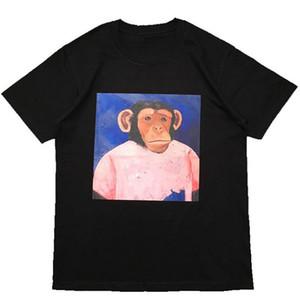 Rua de forma famoso Mens T Shirt 20ss camisas de alta qualidade Macaco Printed Pullover Polo manga curta T Pares Homens Mulheres Stylist Tee