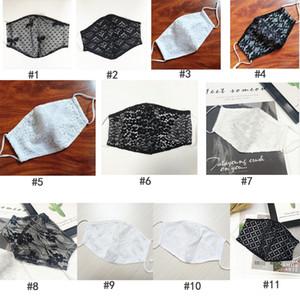 Dentelle double couche respirante Masque Coton mince Femme froid Tissu sentiment anti-poussière lavable réutilisable 11 styles image pour choisir