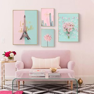 Pink Flower Cactus Tower Princess Room Canvas Painting Art Abstract Print Poster Picture Wall Nordic Home Decor