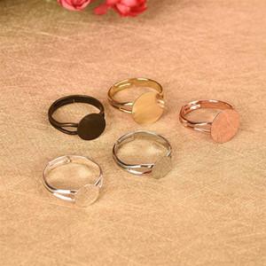 10pcs Ayarlanabilir Blank Ring 8/10 / 12mm Cabochon Cameo Düz Halka Tabanı Ayarları Pad Bezel Tepsi Boşluklar DIY Takı Bulguları Yapımı