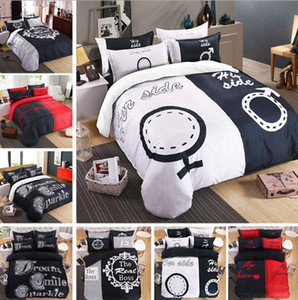 4 pezzi Bedding Set Coppia Lover suo fianco suoi Coppia laterale tessile Soft Cover Duvet con Federe