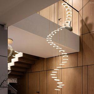 Lustre Lampe pendentif moderne de la mode Hall étage en duplex minimaliste lampe villa escalier en colimaçon salon nordique lumière longue suspendu