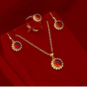 Corte redondo Red Zircon Brillant Joyery Set 18k Amarillo Oro Relleno Relleno Sunflower Formado Classic Womens Lady Pendientes Pendientes Set Hermoso en