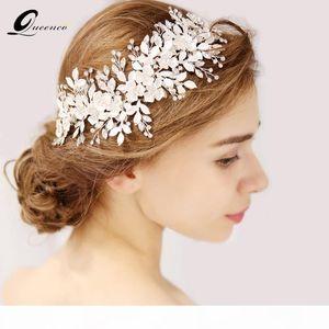 QUEENCO Silver Floral Bridal Headpiece Tiara Wedding Hair Accessories Hair Vine Handmade Headband Jewelry For Bride