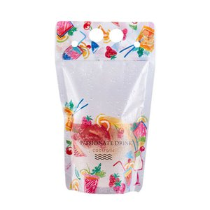 500ml Fruit pattern Plastic Drink Packaging Bag Pouch for Beverage Juice Milk Coffee with Handle and Holes for Straw