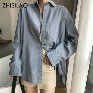 ZHISILAO Chic sólidas camisas de manga larga de algodón de lino de la blusa más el tamaño de camisas de gran tamaño blusa blanca Maxi Novios Chemisier 200924