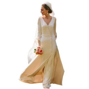 Vintage Ivory Silk Satin Wedding Dresses 2021 Court Train Long Sleeves V Neck Covered Buttons Modest Royal Bridal Gowns Vestidos de novia