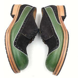 Sipriks Unique Design Mens Green Leather Shoes Italian Handmade Sewing Welted Shoes Thick Leather Sole Formal Tuxedo Gents Suits