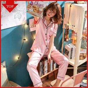 VDOGRIR Silk Pajama Sets For Women Luxury Long Sleeve Pyjamas Sleepwear Oversize 2 Pcs Button UP Pijama With Bags Sexy Homewear