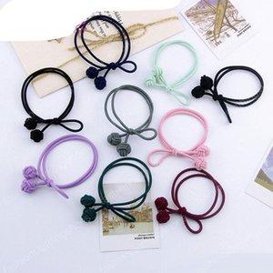 Vendita calda Fashion Girl corda Double Ball legami dei capelli del braccialetto di gomma elastica Coda di cavallo supporto della coda bambini Hairband Accessori