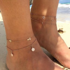 Bohemian Key Star Round Tassel Crystal Chain Pendant Multilayer Anklet Womens Beach Party Fashion Jewelry Accessories