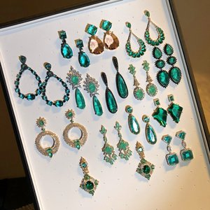 Drop Earrings For Women S925 Silver Needles Luxury Vintage Lake Blue Emerald Green Gems Temperament Cubic Zirconia Fine Jewelry