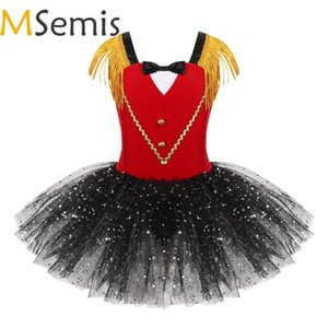 Crianças Meninas Halloween Circus Ringmaster traje dancewear Tassel Bowtie Querida Sequins Tutu Ginástica Leotard Vestido Dança